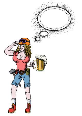 맥주와 함께 하드 작업 여자의 만화 이미지입니다. 예술적 프리 핸드 그림.