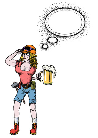 quirky: Cartoon image of hard working woman with beer. An artistic freehand picture. Illustration