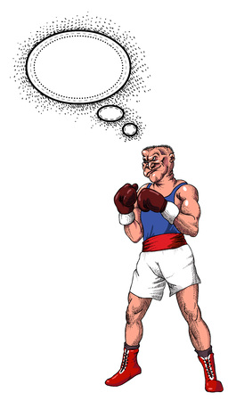 Cartoon image of boxer. An artistic freehand picture.