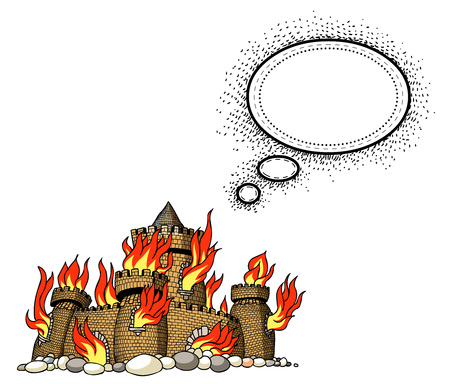 flaring: burning castle-100 Illustration