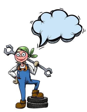 female mechanic-100 Illustration