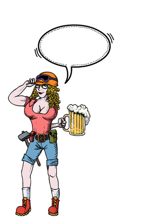hard working woman with beer-100