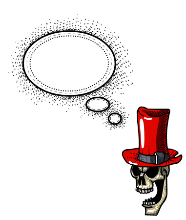 laughing skull in top hat-100