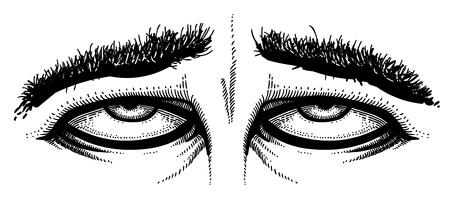 Cartoon image of tired eyes Illustration