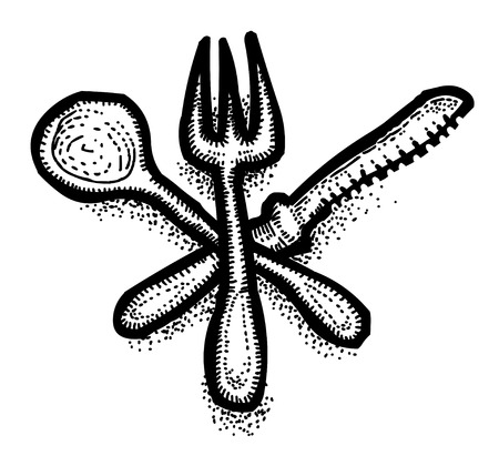 Cartoon image of Spoon, fork, knife Icons. Restaurant symbol