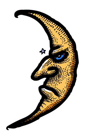 Cartoon image of Moon Icon. Nighttime symbol