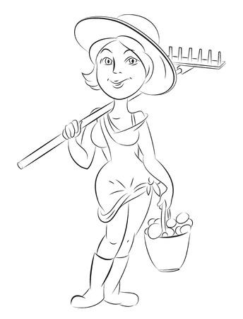 dungarees: Cartoon image of farmer girl