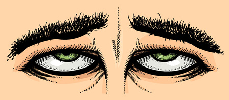 Cartoon image of tired eyes Illustration