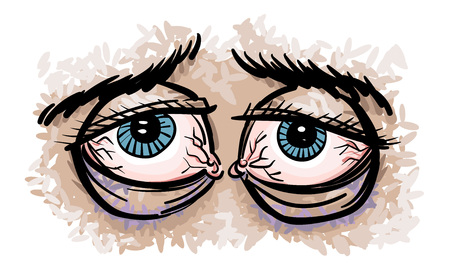 droopy: Cartoon image of tired eyes Illustration