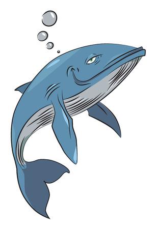 Cartoon afbeelding van happy walvis