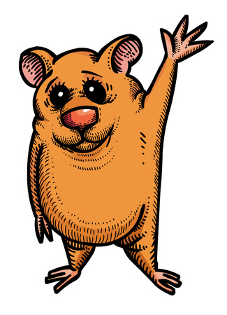 Cartoon image of waving hamster