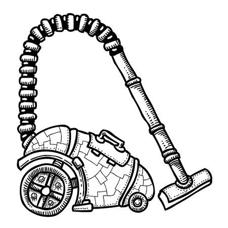 residue: Cartoon image of vacuum cleaner Illustration