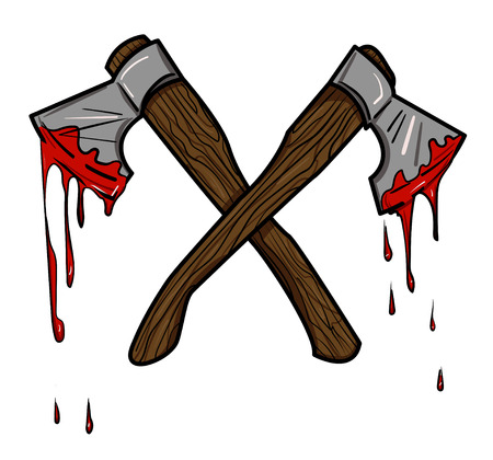 Cartoon image of bloody axe