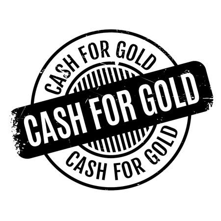 現金のゴールドのゴム印