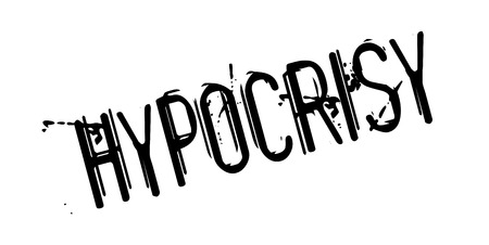 two faced: Hypocrisy rubber stamp Illustration