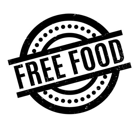 Free Food rubber stamp. Grunge design with dust scratches. Effects can be easily removed for a clean, crisp look. Color is easily changed. Illustration