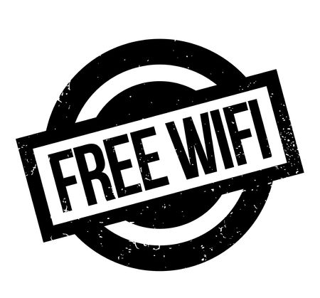 wireless icon: Free Wifi rubber stamp. Grunge design with dust scratches. Effects can be easily removed for a clean, crisp look. Color is easily changed. Illustration