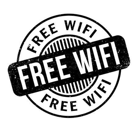Free Wifi rubber stamp. Grunge design with dust scratches. Effects can be easily removed for a clean, crisp look. Color is easily changed. Illusztráció