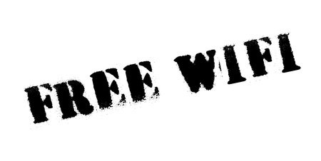 website header: Free Wifi rubber stamp. Grunge design with dust scratches. Effects can be easily removed for a clean, crisp look. Color is easily changed. Illustration