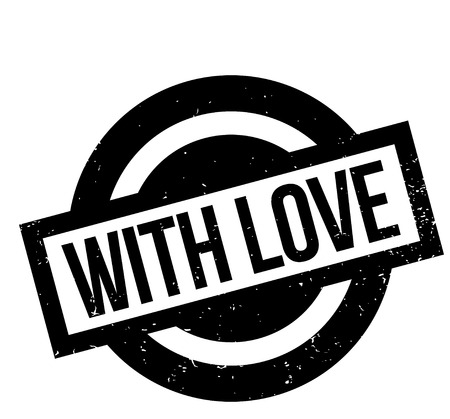 With Love rubber stamp. Grunge design with dust scratches. Effects can be easily removed for a clean, crisp look. Color is easily changed.