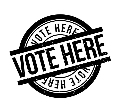 majority: Vote Here rubber stamp. Grunge design with dust scratches. Effects can be easily removed for a clean, crisp look. Color is easily changed.