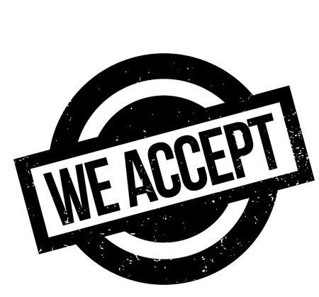 We Accept rubber stamp Stock Photo