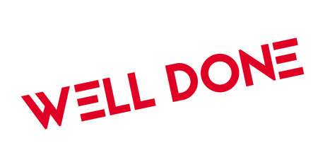 Well Done rubber stamp red text grunge design