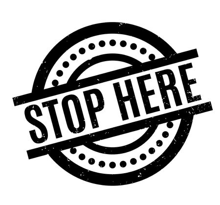 Stop Here rubber stamp grungy design