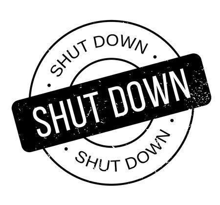 Shut Down rubber stamp. Vector illustration.