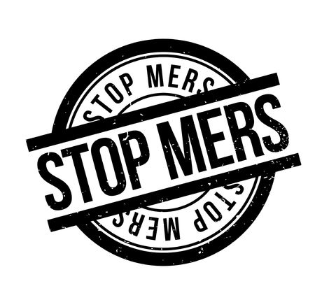 hazard sign: Stop Mers rubber stamp. Grunge design with dust scratches. Effects can be easily removed for a clean, crisp look. Color is easily changed.