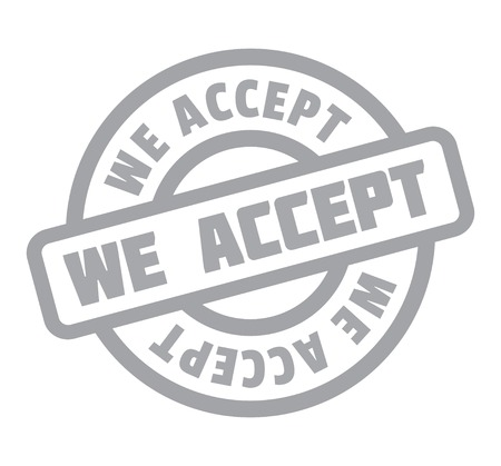 We Accept rubber stamp. Vector illustration.