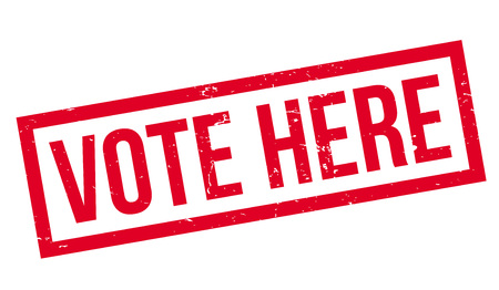 Vote Here rubber stamp. Vector illustration.