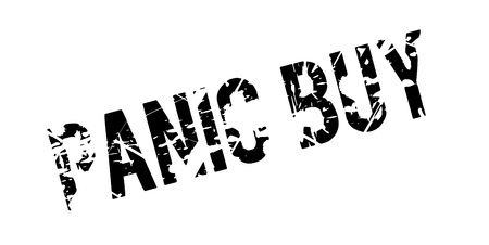 Panic Buy rubber stamp. Grunge design with dust scratches. Effects can be easily removed for a clean, crisp look. Color is easily changed. Illustration