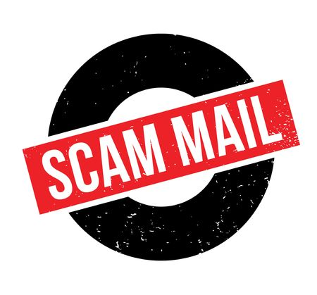 vulnerable: Scam Mail rubber stamp. Grunge design with dust scratches. Effects can be easily removed for a clean, crisp look. Color is easily changed. Illustration