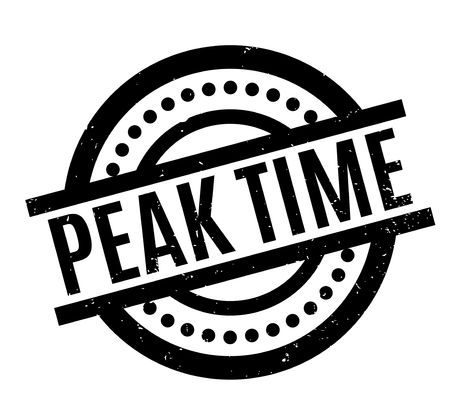Peak Time rubber stamp. Grunge design with dust scratches. Effects can be easily removed for a clean, crisp look. Color is easily changed.