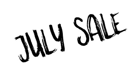 July Sale rubber stamp. Grunge design with dust scratches. Effects can be easily removed for a clean, crisp look.