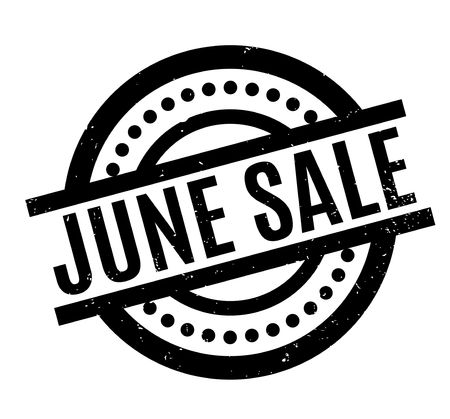 June Sale rubber stamp. Grunge design with dust scratches. Effects can be easily removed for a clean, crisp look.