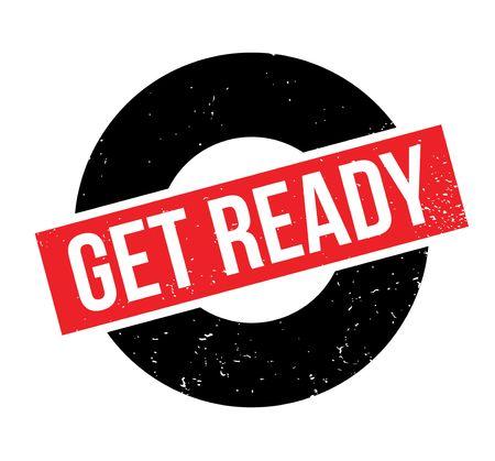 Get Ready rubber stamp white text on red rectangular grunge design