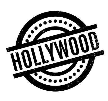 Hollywood rubber stamp. Grunge design with dust scratches. Effects can be easily removed for a clean, crisp look. Color is easily changed. Stock Photo