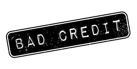 Bad credit rubberstempel. Grungeontwerp met stofkrassen. Effecten kunnen eenvoudig worden verwijderd voor een schone, heldere look. Kleur is gemakkelijk te veranderen.