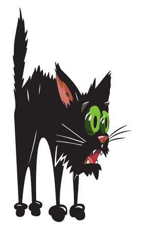 Cartoon image of scared black cat Illustration