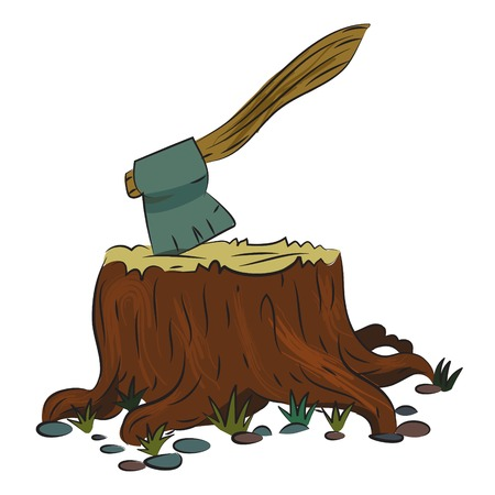 Cartoon image of tree stump and axe