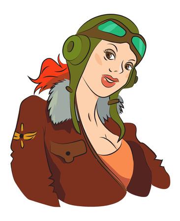 Cartoon afbeelding van luchtvrouw vrouw