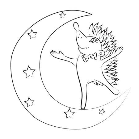 Cartoon image of cute hedgehog Illustration