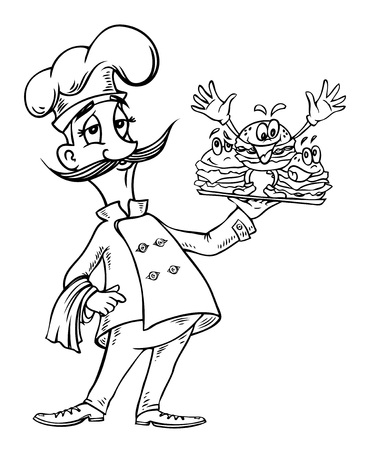 artwork: Cartoon image of chef with burgers Illustration