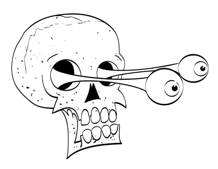 Cartoon image of ancient spooky skull