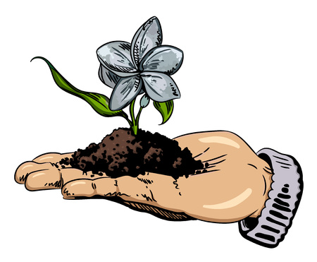 Cartoon image of flower growing in palm of hand