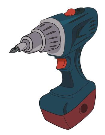 drill: Cartoon image of carton power drill Illustration