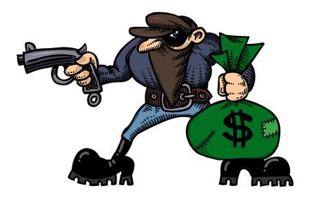 loot: Cartoon image of burglar with loot bag