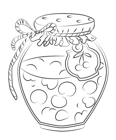Cartoon image of cherry jam Illustration